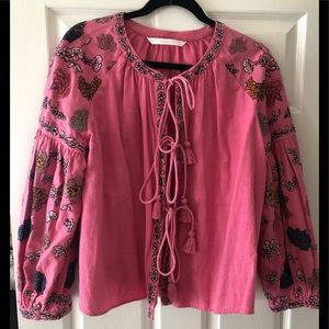 Zara Embroidered floral tassel top